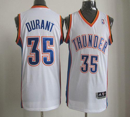Thunder #35 Kevin Durant White Revolution 30 Stitched NBA Jersey