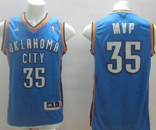 Thunder #35 Kevin Durant Blue MVP Stitched NBA Jersey