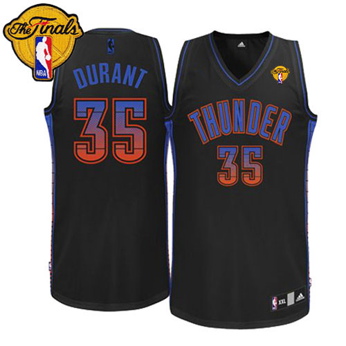 Thunder #35 Kevin Durant Black Fashion With Finals Patch Stitched NBA Jersey