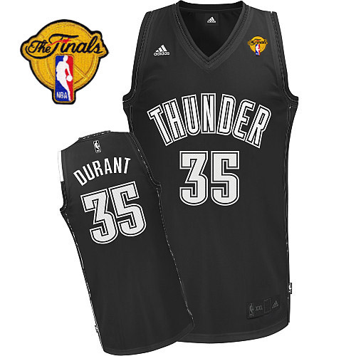 Thunder #35 Kevin Durant Black/White Finals Patch Stitched NBA Jersey