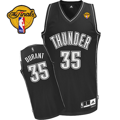 Thunder #35 Kevin Durant Black Shadow With Finals Patch Stitched NBA Jersey