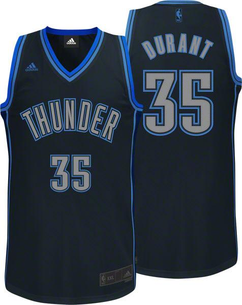 Thunder #35 Kevin Durant Black Graystone Fashion Stitched NBA Jersey