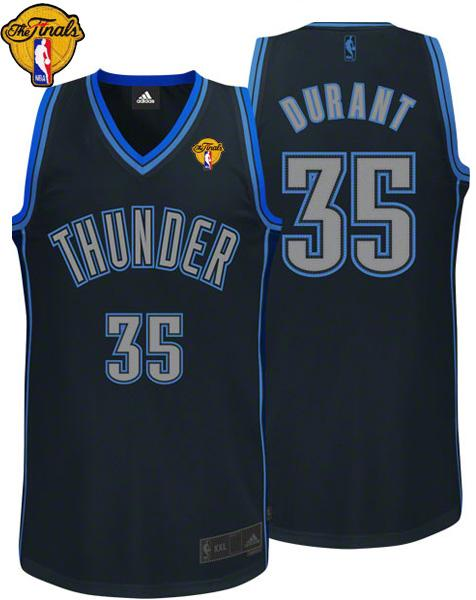 Thunder #35 Kevin Durant Black Graystone Fashion With Finals Patch Stitched NBA Jersey