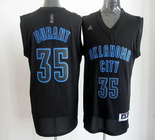 Thunder #35 Kevin Durant Black on Black Stitched NBA Jersey