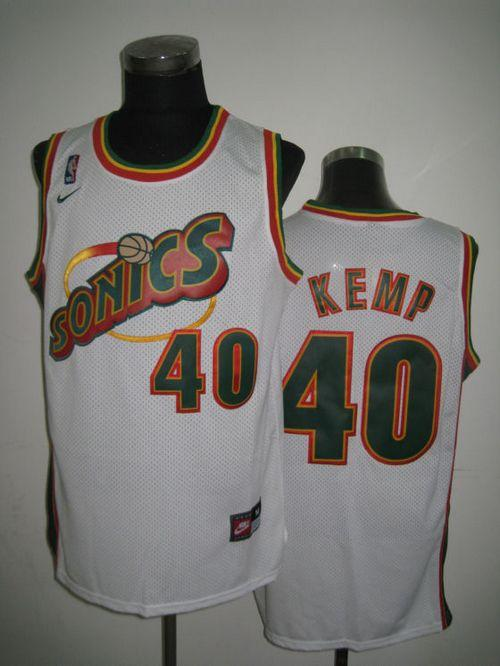 Thunder #40 Shawn Kemp White SuperSonics Throwback Stitched NBA Jersey