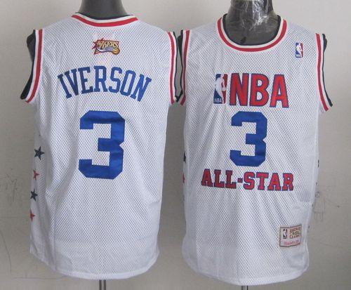 Mitchell And Ness 76ers #3 Allen Iverson White 2003 All Star Stitched NBA Jersey