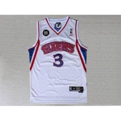76ers #3 Allen Iverson White Reebok 10TH Throwback Stitched NBA Jersey