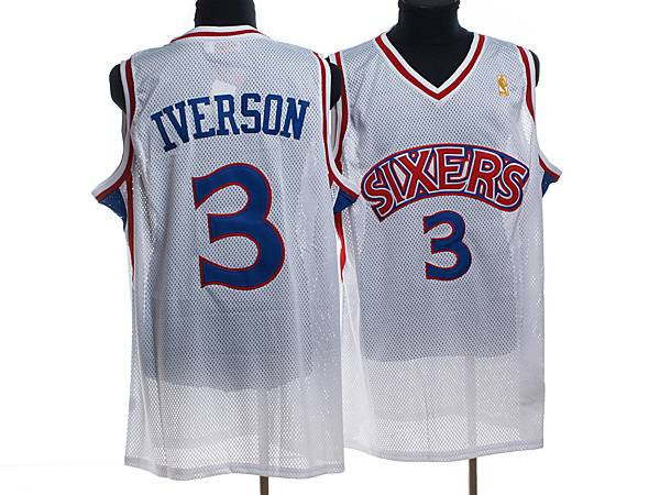 Mitchell and Ness 76ers #3 Allen Iverson Stitched White Throwback NBA Jersey