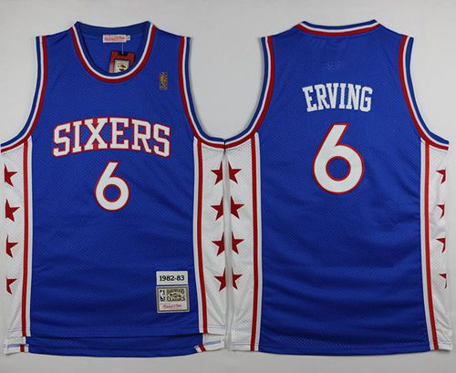 Mitchell and Ness 76ers #6 Julius Erving Stitched Blue Throwback NBA Jersey