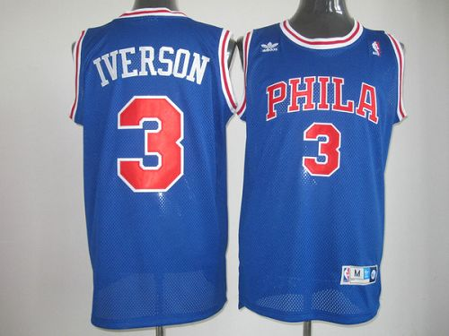 Throwback 76ers #3 Allen Iverson Stitched Blue NBA Jersey