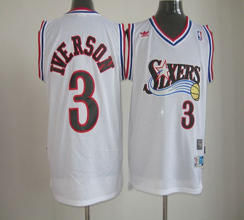 76ers #3 Allen Iverson White Throwback Stitched NBA Jersey