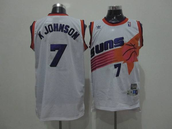 Suns #7 Kevin Johnson White Swingman Throwback Stitched NBA Jersey