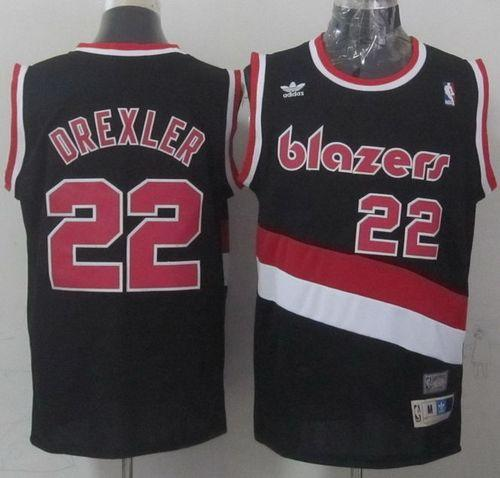 Blazers #22 Clyde Drexler Black Soul Swingman Throwback Stitched NBA Jersey