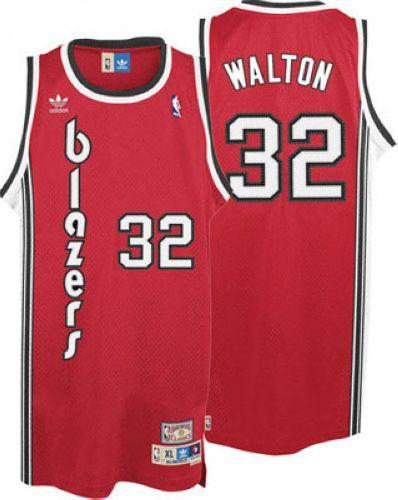 Blazers #32 Bill Walton Red Throwback Stitched NBA Jersey