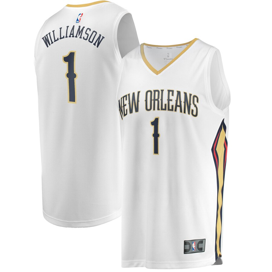 Men's New Orleans Pelicans #1 Zion Williamson White Stitched NBA Jersey