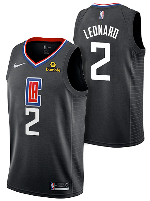 Men's Los Angeles Clippers #2 Kawhi Leonard Black Stitched NBA Jersey