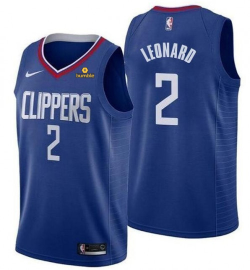 Men's Clippers #2 Kawhi Leonard Blue Stitched NBA Jersey