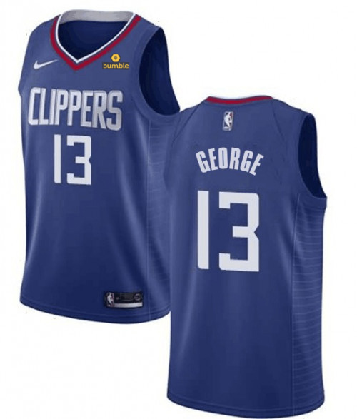 Men's Los Angeles Clippers #13 Paul George Blue Stitched NBA Jersey