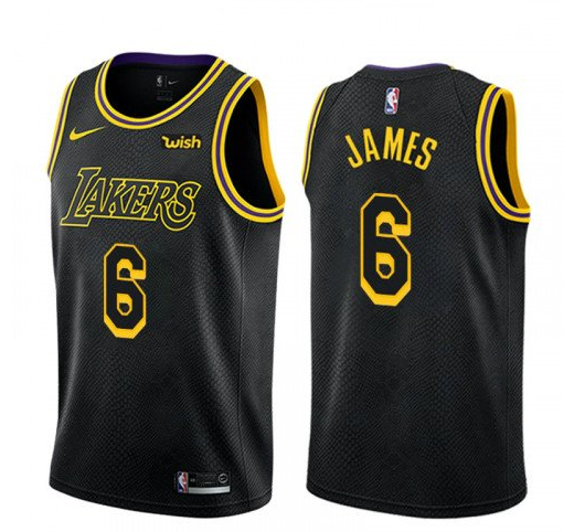Men's Los Angeles Lakers #6 LeBron James Black Stitched NBA Jersey
