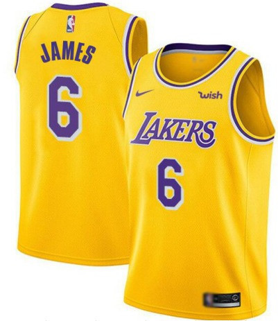 Men's Los Angeles Lakers #6 LeBron James Yellow Stitched NBA Jersey