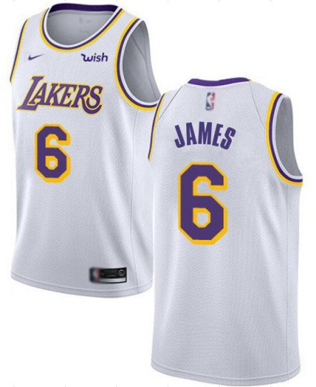 Men's Los Angeles Lakers #6 LeBron James White Stitched NBA Jersey