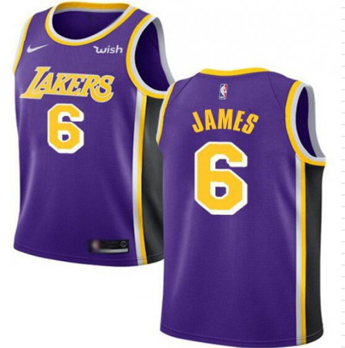Men's Los Angeles Lakers #6 LeBron James Purple Stitched NBA Jersey