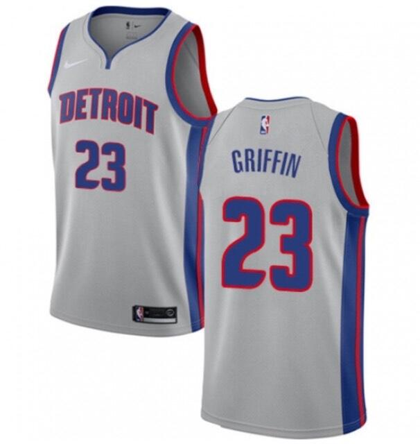 Men's Detroit Pistons #23 Blake Griffin Silver Stitched NBA Jersey