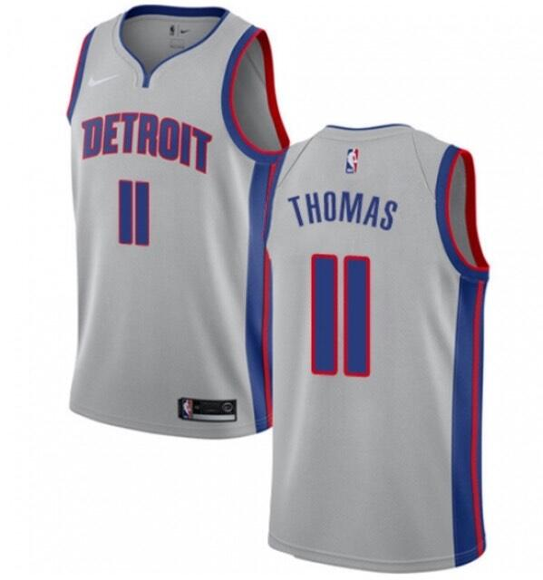Men's Detroit Pistons #11 Isiah Thomas Silver Stitched NBA Jersey