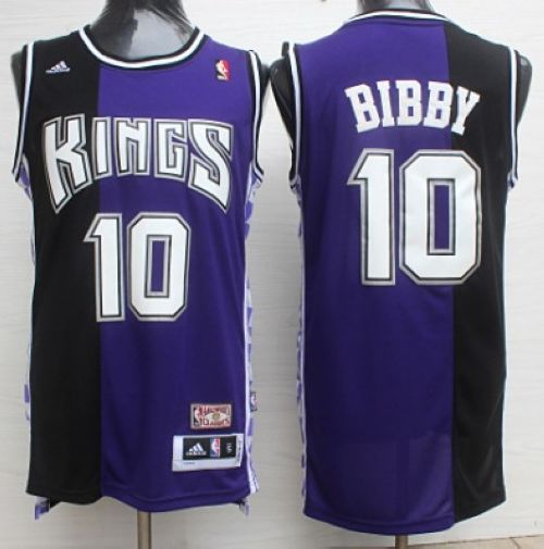 Kings #10 Mike Bibby Purple/Black Throwback Stitched NBA Jersey