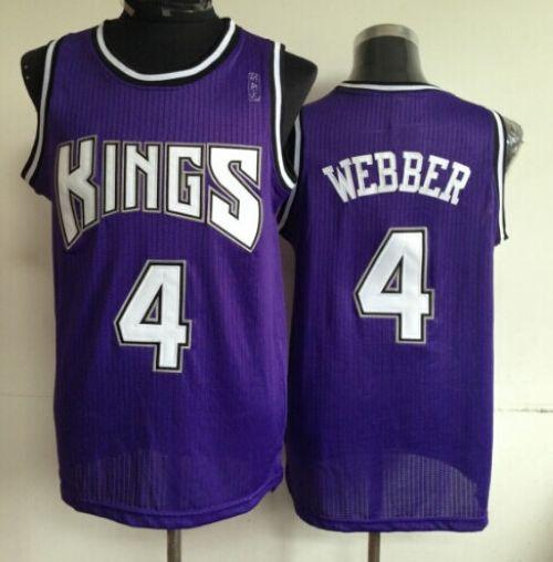 Kings #4 Chris Webber Purple Throwback Stitched NBA Jersey