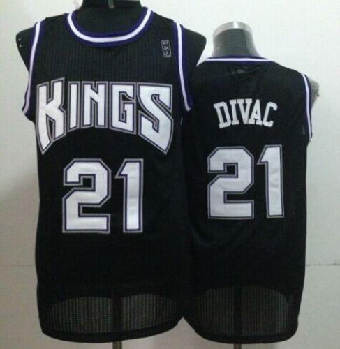 Kings #21 Vlade Divac Black Throwback Stitched NBA Jersey