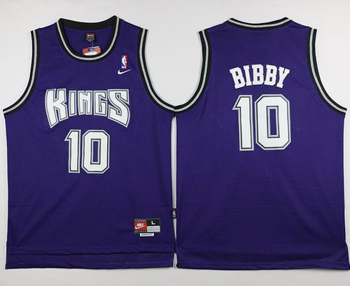 Kings #10 Mike Bibby Purple Throwback Stitched NBA Jersey
