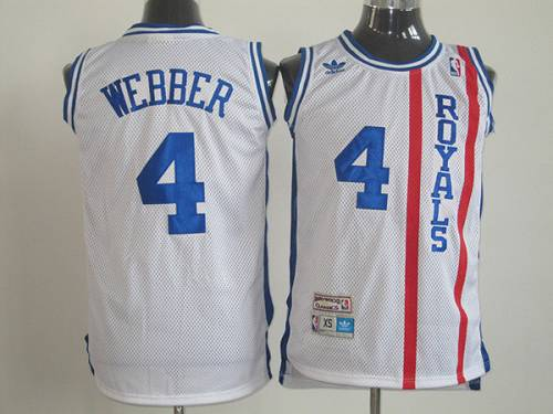 Kings #4 Chris Webber White Throwback Stitched NBA Jersey