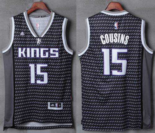 Kings #15 DeMarcus Cousins Black New Stitched NBA Jersey