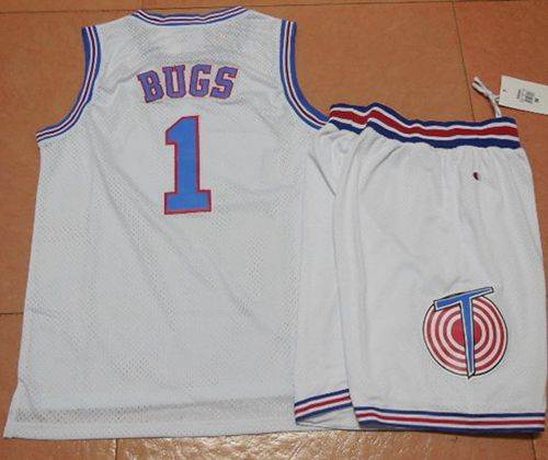 Space Jam Tune Squad #1 Bugs Bunny White Movie Stitched Basketball Jersey