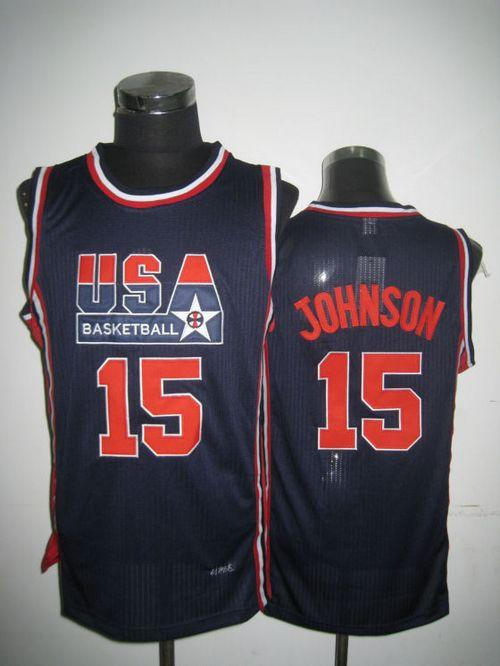 Team USA #15 Magic Johnson Dark Blue 2012 USA Basketball Retro Stitched NBA Jersey