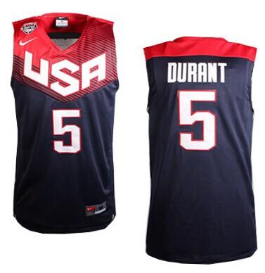 Nike 2014 Team USA #5 Kevin Durant Dark Blue Stitched NBA Jersey