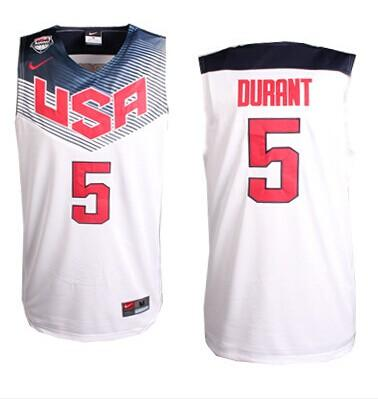 Nike 2014 Team USA #5 Kevin Durant White Stitched NBA Jersey