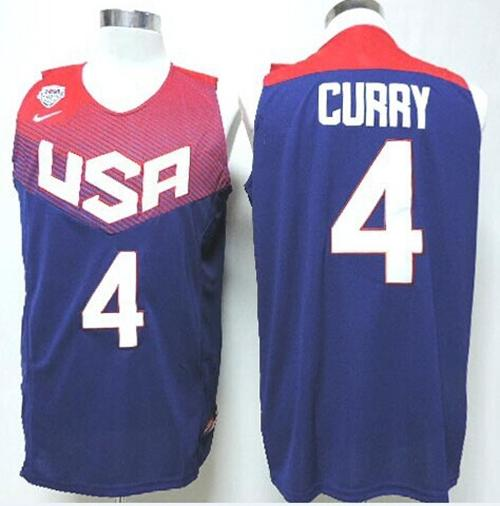 Nike 2014 Team USA #4 Stephen Curry Dark Blue Stitched NBA Jersey