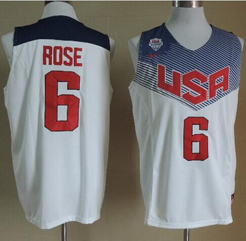 Nike 2014 Team USA #6 Derrick Rose White Stitched NBA Jersey