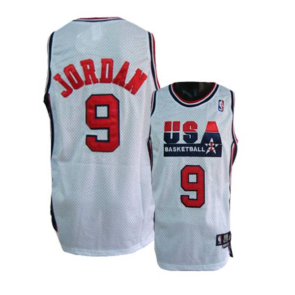 Olympic 9# Michael Jordan White Stitched NBA Jersey