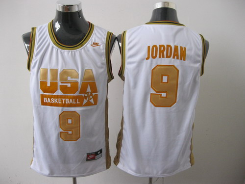 Nike Dream Team USA Olympic 9# Michael Jordan White With Gold NO. Olympic Stitched NBA Jersey