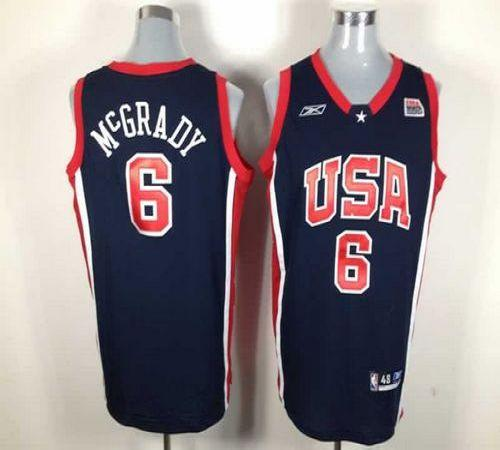 Reebok Summer Olympics Team USA #6 Tracy McGrady Dark Blue Stitched NBA Jersey