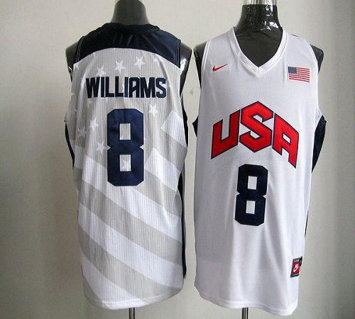 Nike 2012 Olympics Team USA #8 Deron Williams White Stitched NBA Jersey