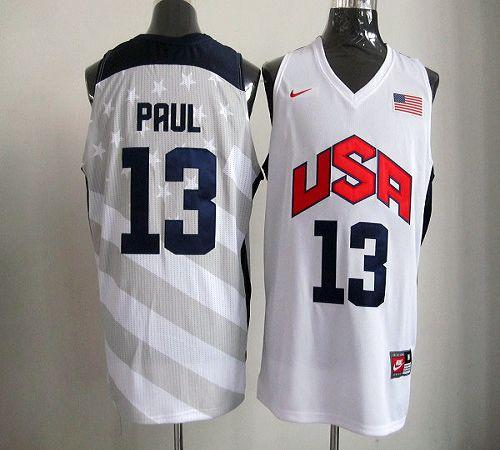 Nike 2012 Olympics Team USA #13 Chris Paul White Stitched NBA Jersey