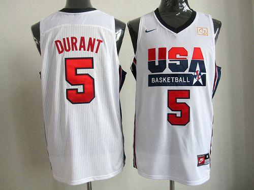 Nike Team USA #5 Kevin Durant White 2012 USA Basketball Retro Stitched NBA Jersey