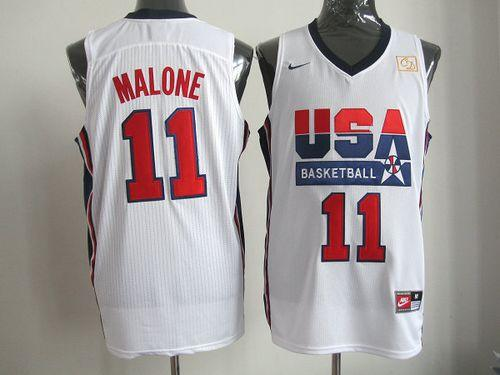 Nike Team USA #11 Karl Malone White 2012 USA Basketball Retro Stitched NBA Jersey