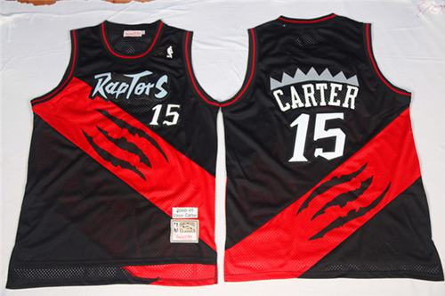 Mitchell And Ness Raptors #15 Vince Carter Black/Red Throwback Stitched NBA Jersey
