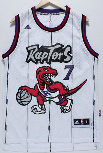 Raptors #7 Kyle Lowry White Throwback Stitched NBA Jersey