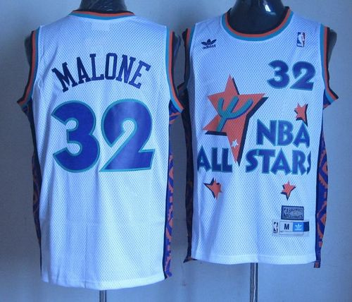 Jazz #32 Karl Malone White 1995 All Star Throwback Stitched NBA Jersey